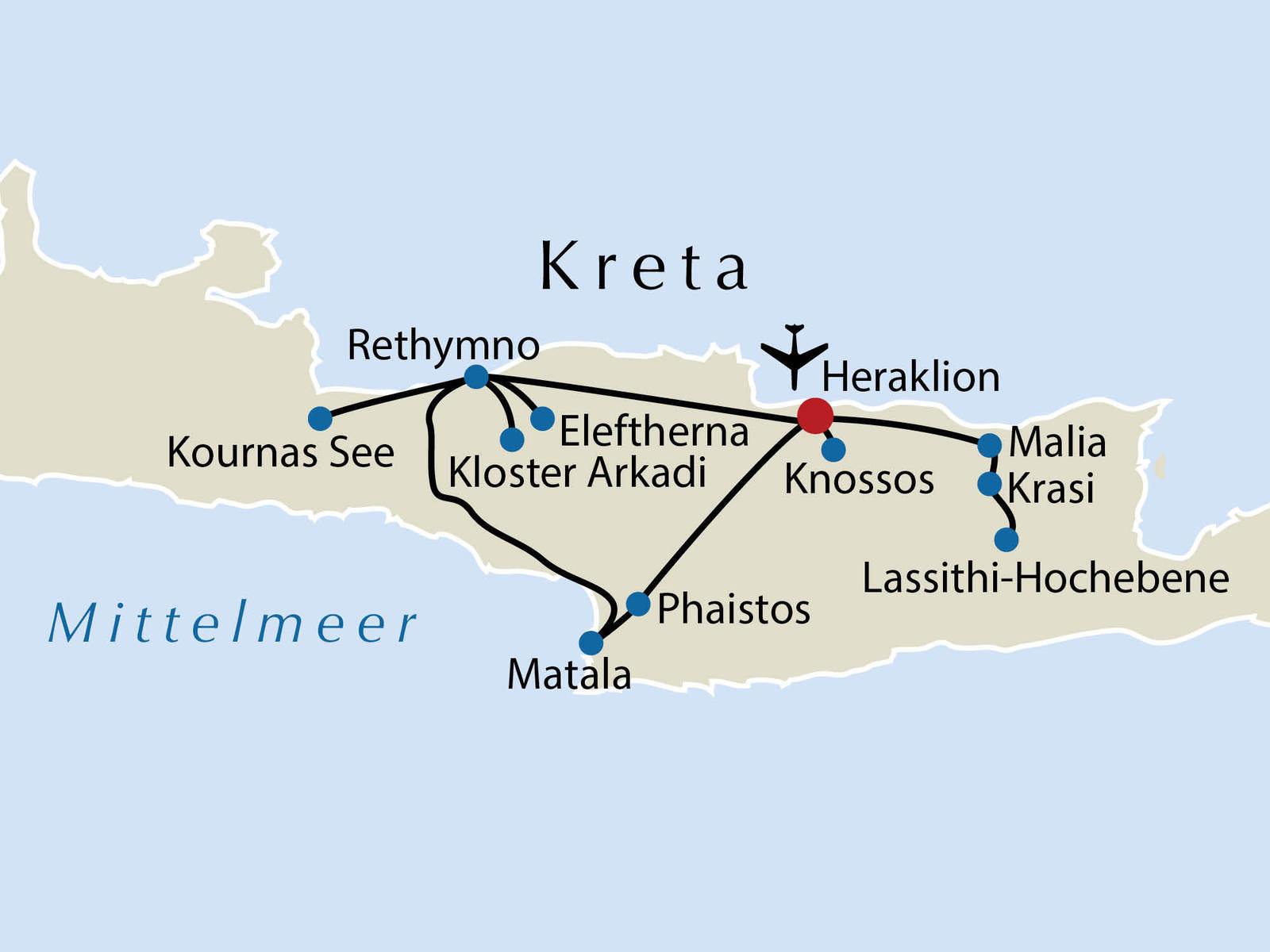 Reiseverlauf Kreta